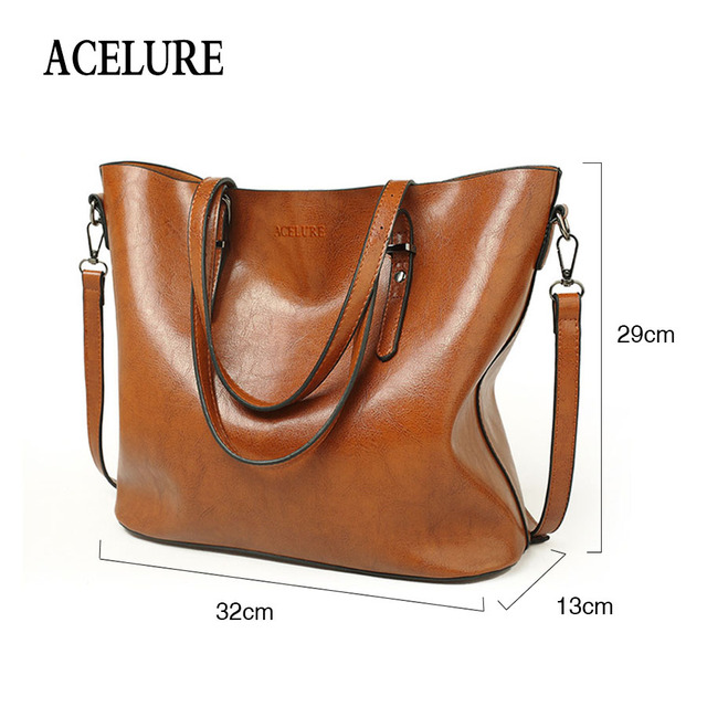 ACELURE Women Shoulder Bag Fashion Women Handbags Oil Wax Leather Large Capacity Tote Bag Casual Pu Leather women Messenger bag  1