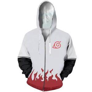 Image 4 - Anime Naruto Hoodie 4th 7th Hokage Uzumaki Naruto Uchiha Sasuke Hatake Kakashi Ootutuki Zipper Coat Tops Thin Hoodies Sweatshirt