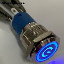 Zusen 16 мм вкл/выкл с подсветкой символ питания Фиксация кнопочный переключатель(ZS16F-11ZEP/B/12 V/N с подсветкой символ питания