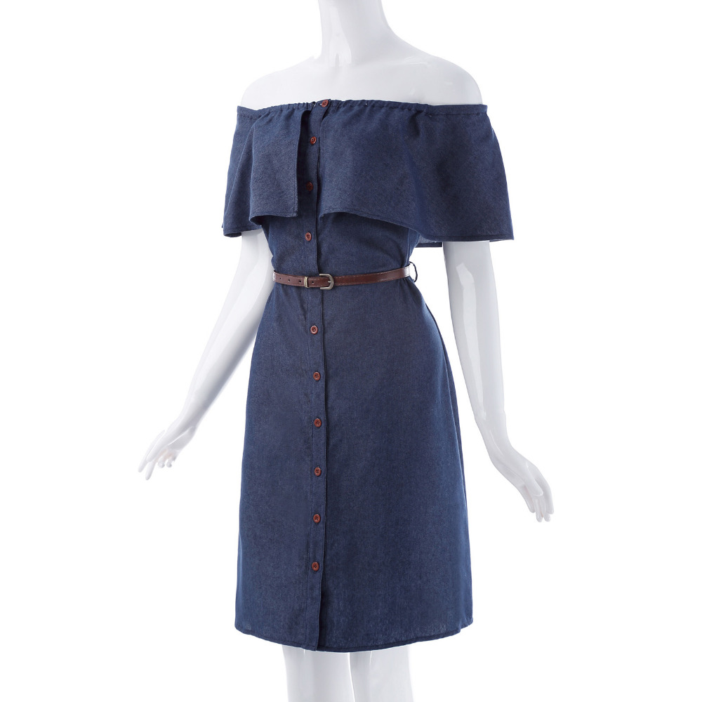 New Rereo Vintage 1940s Women Denim Shirt Dress Off Shoulder Ruffles