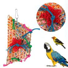 Bird Toys Colorful Bamboo Weave Wooden Swing Parrot Toys Climbing and Biting Bird Cage Accessories