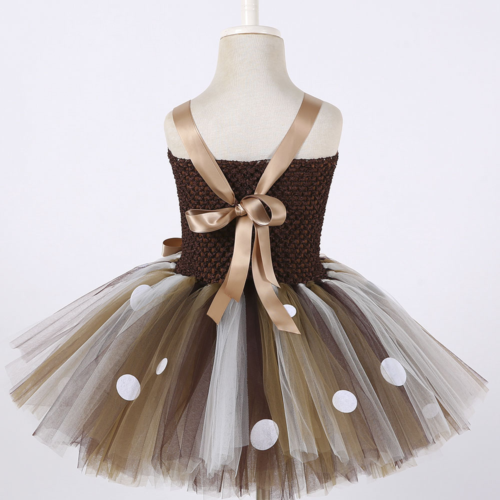 Girls Reindeer Dress Up Costumes Children O-neck Pattern Solid Dress Christmas Birthday Party Kids Dresses for Girls Ball Gown (6)