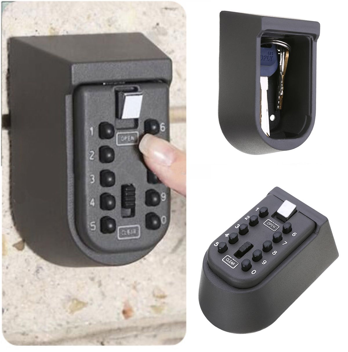 Black Security Outdoor Combination Hide Key Safe Lock Box Storage Wall Mounted ...