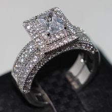 Tamaño Victoria Wieck joyería Vintage valioso 138 unids Diamonique Cz diamante simulado 14KT oro blanco llenó Wedding Ring Set