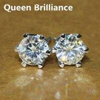 Queen Brillo Sólido 18 K 750 quilates de Oro Blanco de 1 Quilates G-H Retroceder Pendientes Dan Positivo Moissanite Diamante Para mujeres