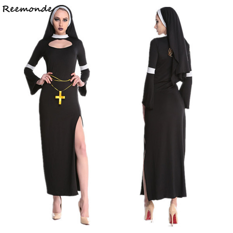Catholic Virgin Mary The Nun Cosplay Costumes Black Dresses Headgear Arabic Religion Monk Ghost Women Halloween Uniform Clothing