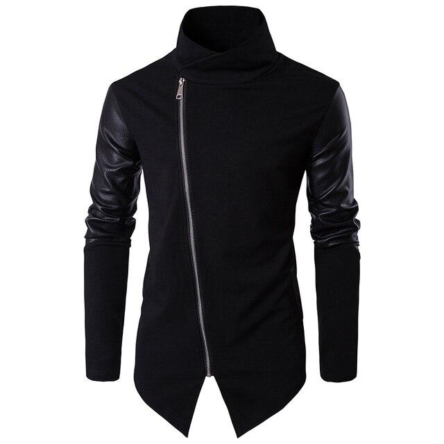 Helisopus Men Casual Jackets Autumn PU Leather Long Sleeve Turtleneck Jackets Men's Moto Style Knitted Coat Plus EUR Size
