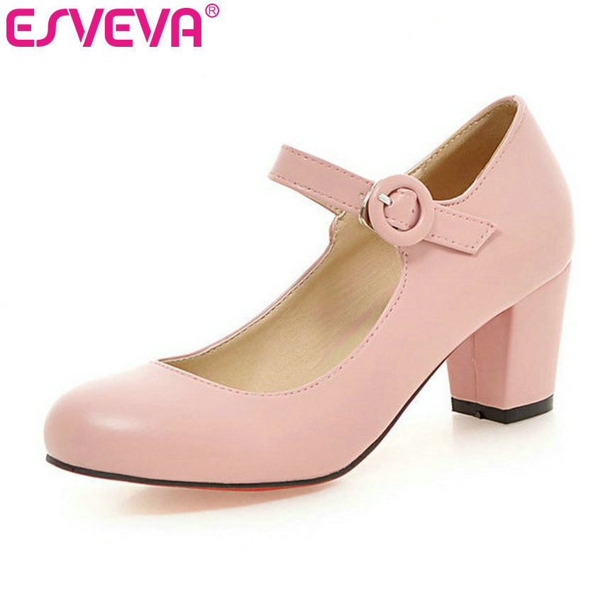 ESVEVA  College Style Buckle Strap Round Toe Women Pump Square High Heels Solid Autumn/Spring Lady Party Shoes Size 34-43 White esveva bow tie wedges high heels women pumps pu soft leather ankle strap platform round toe spring autumn lady party shoes blue