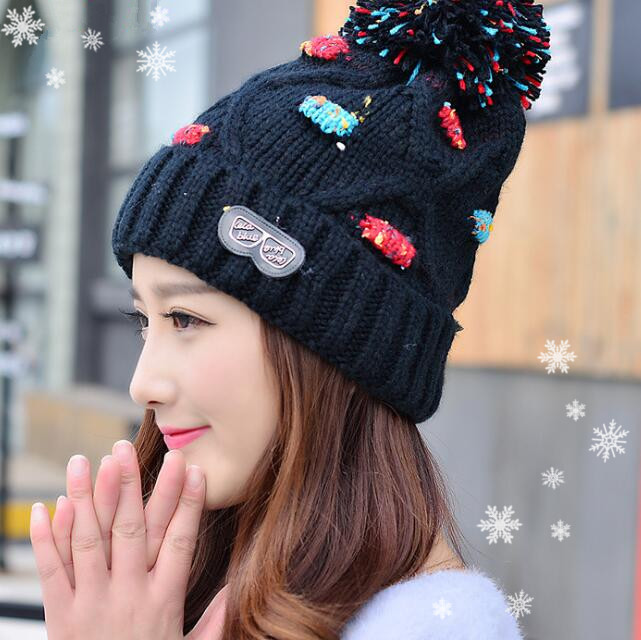Women Autumn Winter Hats Pom Beanies Knitted Crochet Hat Warm Woolen Fur Pompons Female Girl Laddies Skullies