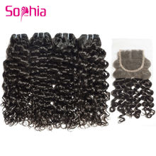Top Quality Italian Curly Brazilian Virgin Hair 4 Bundles with Closure 7A Unprocessed Curly Virgin Human Hair with Lace Closure