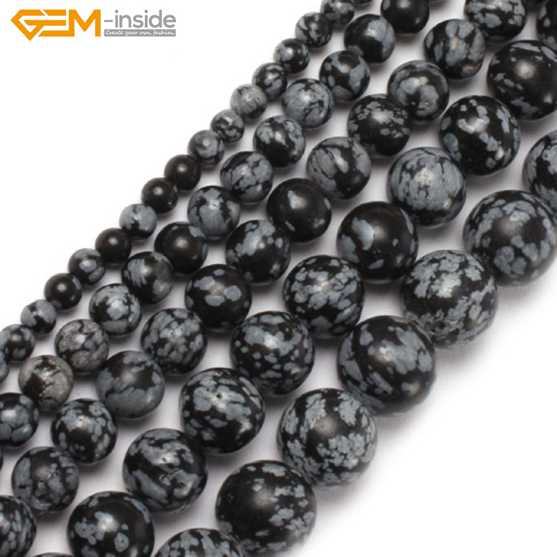 Natural Round Snowflake Obsidian Beads For Jewelry Making 6-12mm 15inches DIY Jewellery FreeShipping Wholesale Gem-inside