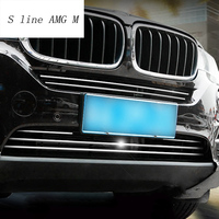 Car Styling Front Head Bumper Lip Lower Bumper Stainless Steel Frames Strip Covers Stickers Trim For BMW X5 F15 auto Accessories