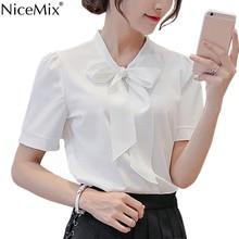 NiceMix 2019 Summer Chiffon Blusas Women Casual Loose Short Sleeve Office Shirt Elegant Bow Lacing Tops Vetement Femme
