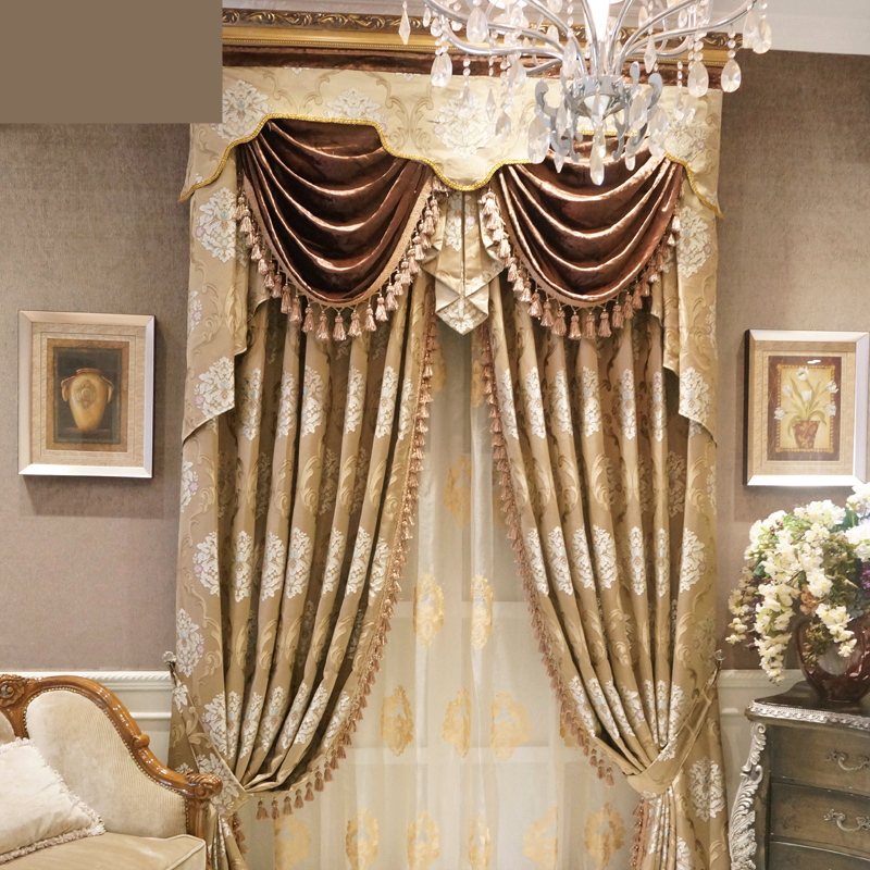 luxury European high precision jacquard curtains high grade living room bedroom full custom luxury curtain valance E463