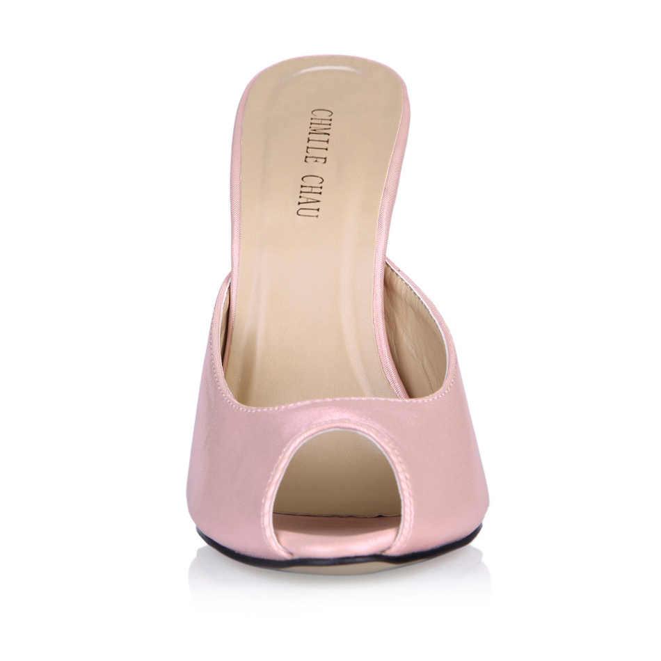 CHMILE チャウセクシーなパーティー靴女性ピープトウスティレ鉄かかと素敵な女性スリッパプラスサイズ 10.5 Zapatos Mujer 3845-FA7