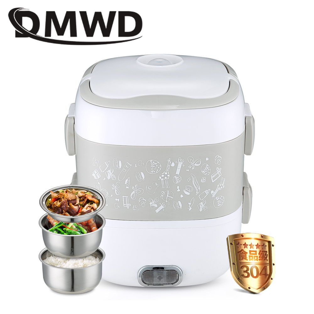 DMWD Electric Rice Cooker 3 Layers Food Heating Lunch Box Container Students Cooking Steamer Lunchbox Meal Warmer Dinnerware EU portable 12v car electric heating lunch box rice cooker food warmer 1 05l 40w