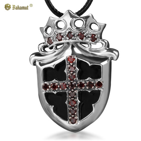 Bahamut 925 Silver Prince Royal Crown Kinght Cross Shield Pendant Necklace