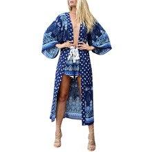 Women boho Kimono Vintage Floral Cardigan Boho Loose Beach Shawl Long Tops Blouse Shirt Bikini Cover up Sunscreen