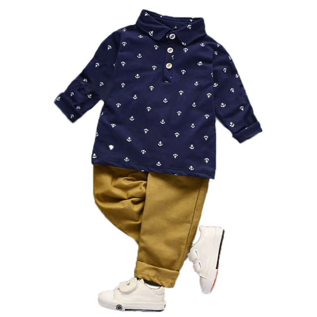 12M-5T kids clothes Long Sleeve Autumn boys clothes two piece 2018 autumn boys clothing set shirt+trousers costumes for boys