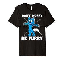 Funny Men t shirt  novelty tshirt Furry Fandom Shirt Dont Worry Be Wolf Fox T-Shirt Print O-Neck Short