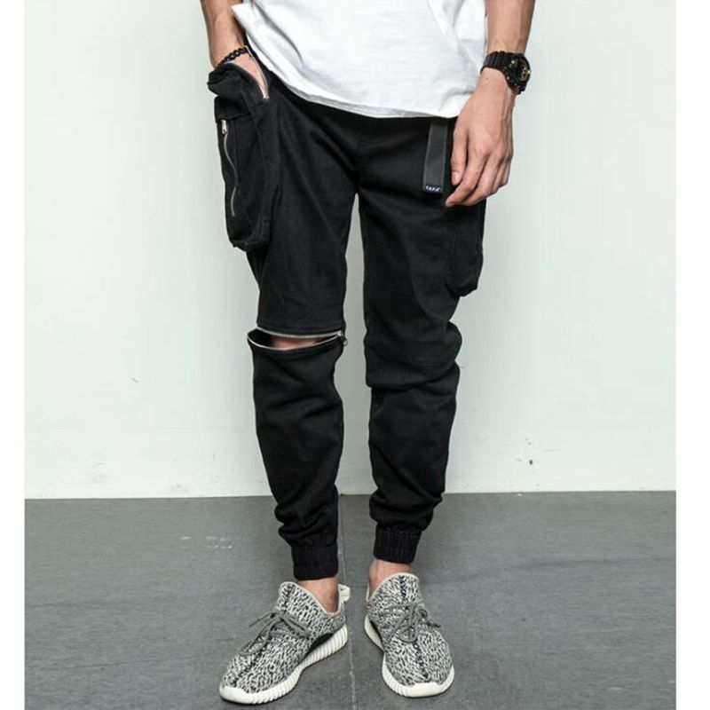 Moda Del Grande Negro Mens Hombres Pantalones Sólido Basculador Bolsillo Cremallera Fit Creativo Rodilla Carga De Slim Abierta Los qUPfvxn