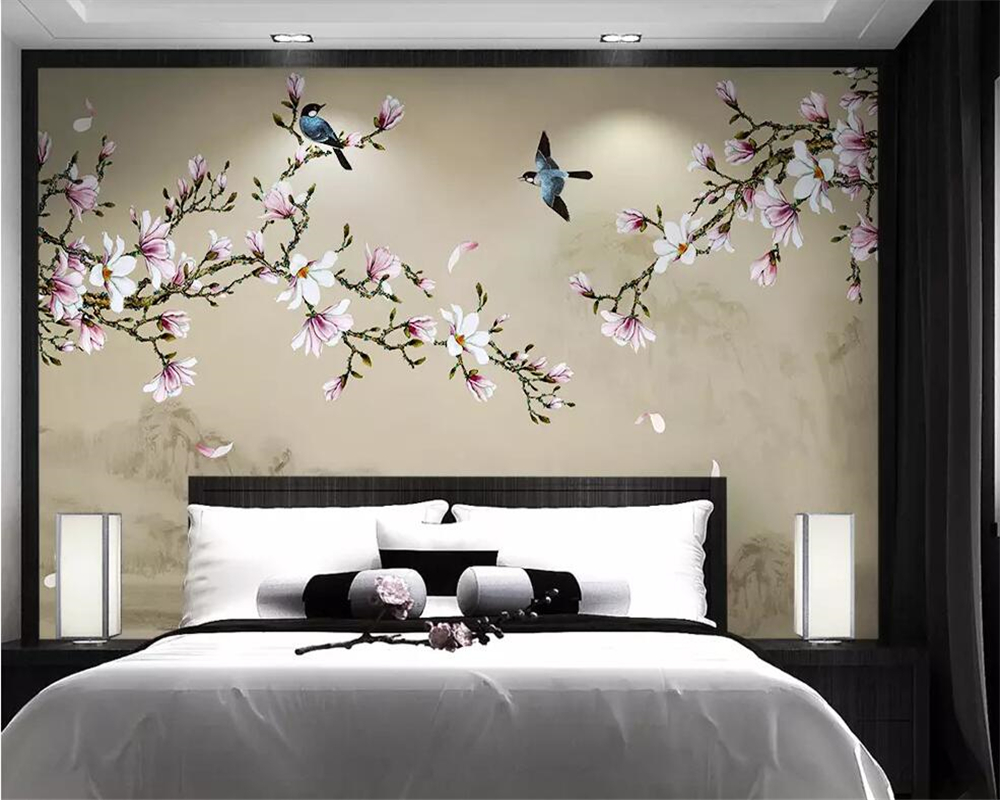 Beibehang Wallpaper Mural Magnolia Hand-painted Meticulous Flower And Bird TV Background Wall Decorative Painting 3d Wallpaper