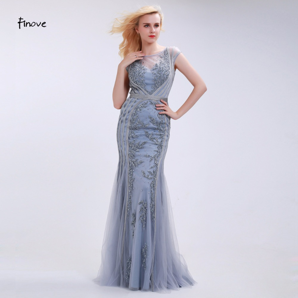Finove Elegant Mermaid Evening Dresses Long 2019 New Style Scoop-Neck Capped Beading Embroidery Gray Prom Gown Vestido De Festa