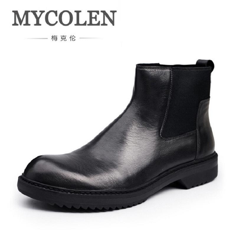 Superior Cuero Calidad Estilo Marca Casual De Mycolen Retro Hermosos Cómodos Negro Hombres Zapatos Botas Británico Botines Chelsea FxYqH