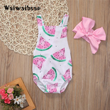 Newborn Baby Girl Clothes Summer Rompers Sleeveless Watermelon Backless Jumpsuit Headband 2PCS Outfits For Boys