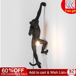 Resin Black White Gold Monkey Lamp Pendant Light For Living Room Lamps Art Parlor Study Room Led Lights lustre With E27 Led Bulb