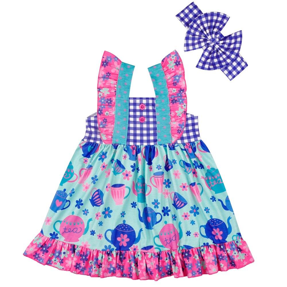 Hot Sale New Design Baby Girls Lovely Dress Kids Boutique Remake Summer Children Dress With Headband Matching Romper LYQ804-136