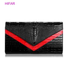 luxurious Ladies Clutch Bag For Alligator Women's Handbag Fashion Envelope Bag Party Evening Clutch Bags Black Purse Day Clutch цена в Москве и Питере