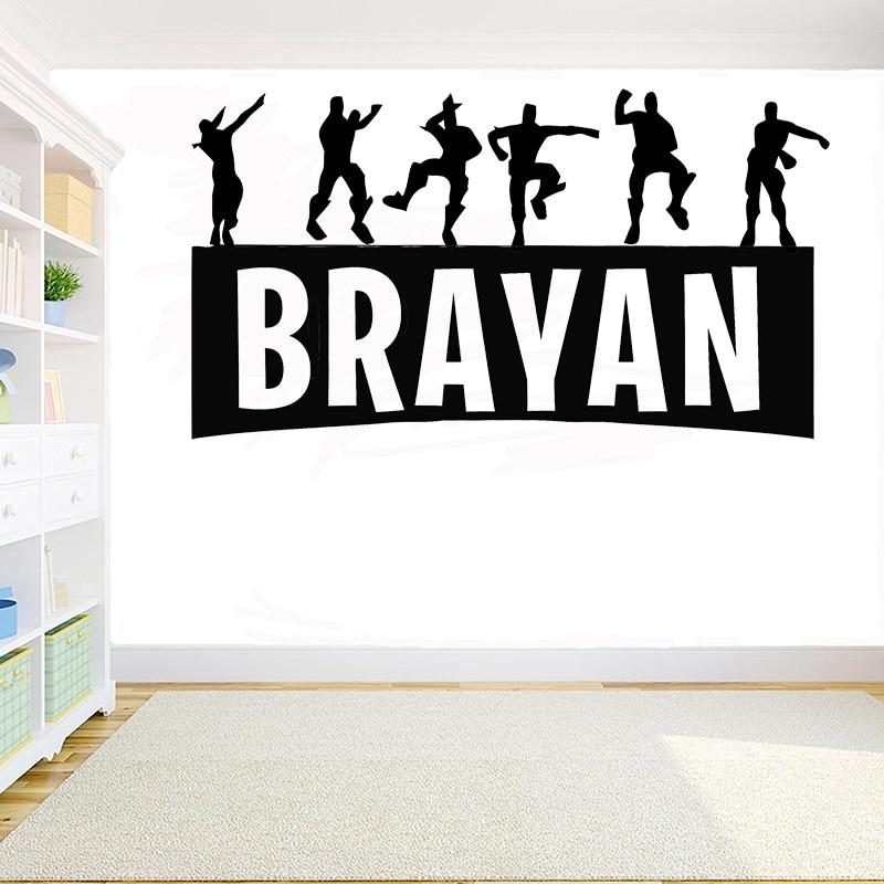 Personnalisé Nom Gamer Vinyle Mur Art Autocollant Décalque Garçons Enfants Décoration