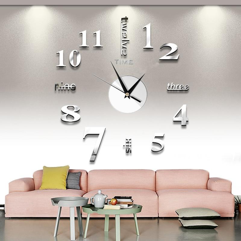 2019 Free Shipping New Watch Clock Wall Clock Watch 3D Diy Acrylic Mirror Sticker Home Decor Living Room Quartz Needle