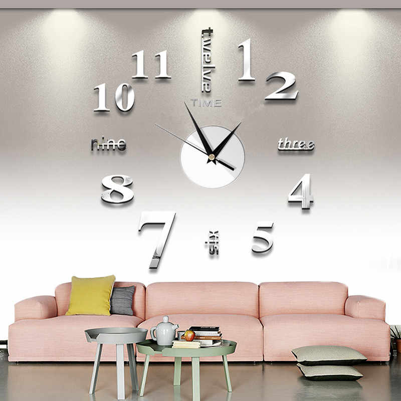 2019 Free Shipping New Watch Clock Wall Clock Watch 3D Diy Acrylic Mirror Sticker Home Decor Living Room Quartz Needle