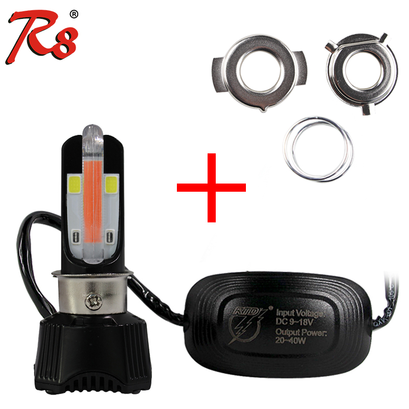 M02K DC 40W 4000LM Hi/Lo Beam Motorcycle Motorbike LED Headlight Fit For H4 P15D H6 HS1 With U-shaped Red DRL Foglight Design