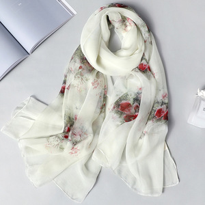 Image 3 - Real Silk Scarf for Women 2020 New Fashion Floral Print Shawls and Wraps Thin Long Pashmina Ladies Foulard Bandana Hijab Scarves