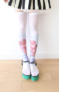 Princesa meias Lolita doce Zipper HARAJUKU amo palmada lolita romper ângulo do cupido do vintage de veludo macio leggings grimoire