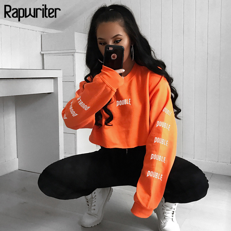 Rapwriter Harajuku Sweatshirt Pullovers Short Crop-Top Letter Long-Sleeve Printed Women