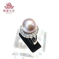 WEICOLOR натуральный белый/розовый/черный/фиолетовый/золото круглый пресноводный жемчуг кольцо с кристаллом (размер регулируется)