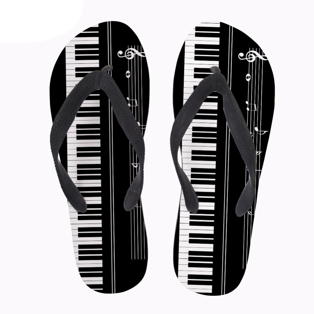 NOISYDESIGNS 3D Music Notes with Piano Keyboard Print Flip Flops Men Casual Fashion House Slippers Slip-on Men flat Flip Flops