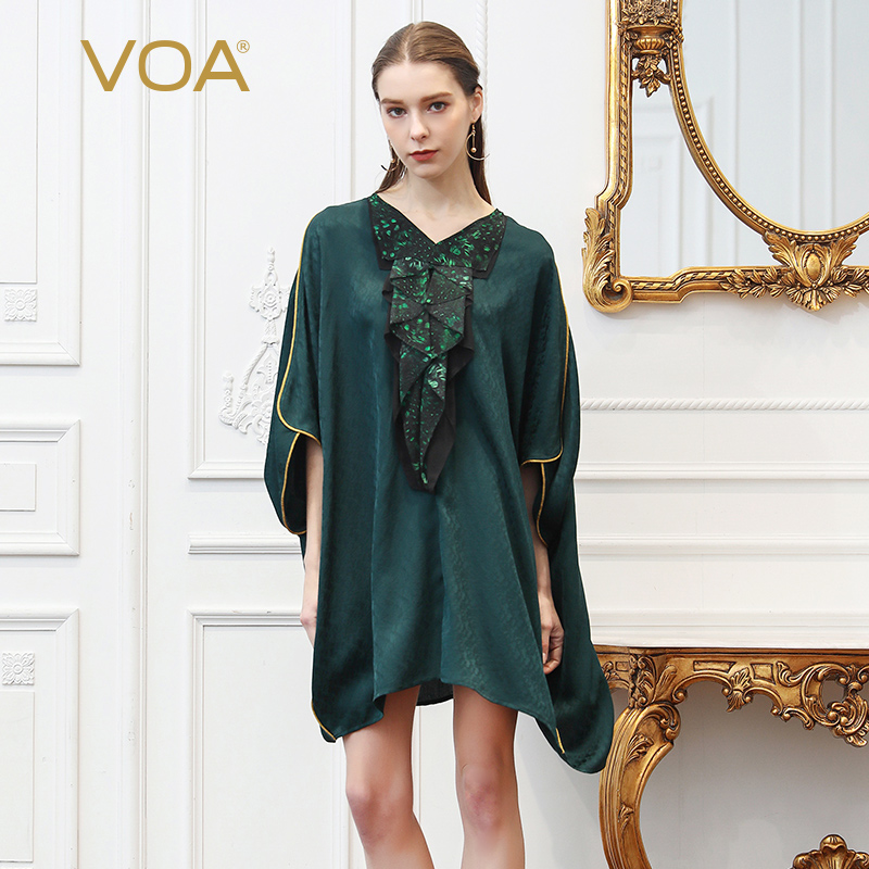VOA Silk V Neck T Shirt Women Tops Tee Green Casual Plus Size Loose 5XL Pullover Summer Bat Sleeve Ruffle Comfort Leisure B399