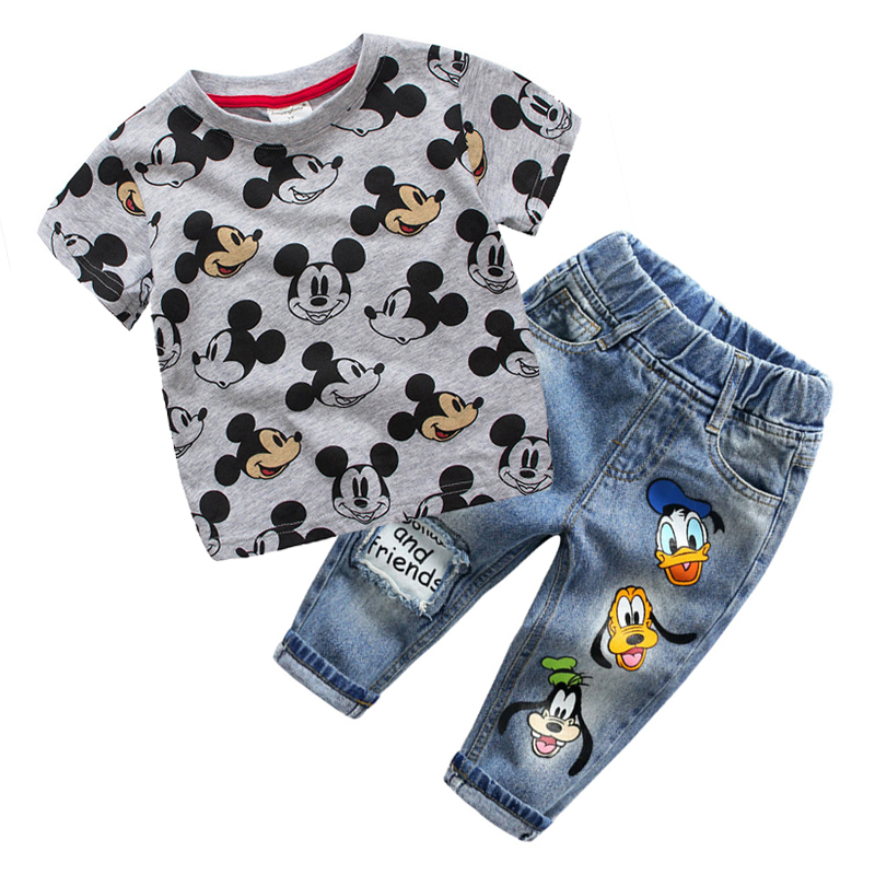 Children Boys Clothing Set T shirt Jean Summer Suit Kids Sport Suit Miki Mouse Cartoon Kids Toddler Clothes For 2 3 4 5 6 Years