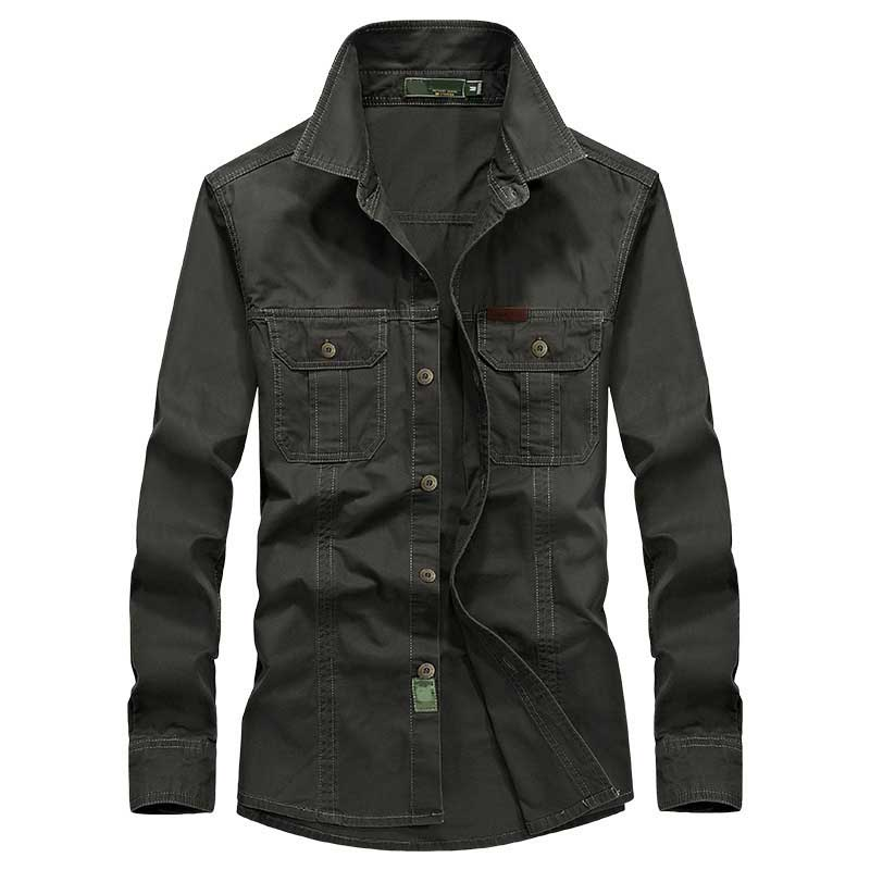 Fashion Men Shirts Long Sleeve Cotton Loose Military Cargo Shirt Outdoor Army Shirts Spring Autumn Male Clothing Plus Size M-6XL