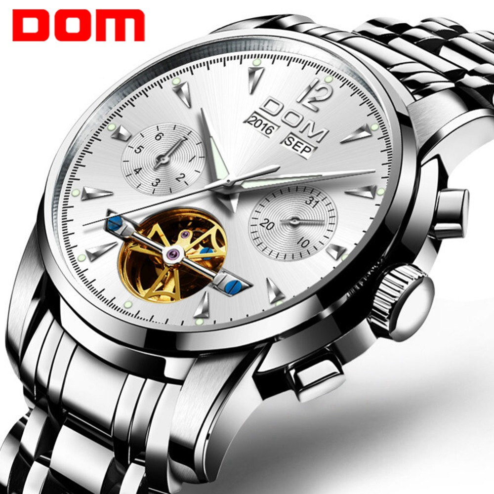 DOM Men Luxury Watch Mechanical Tourbillon Fashion Brand Full- Steel Man  Wrist Watches Mens Automatic Watch Relogio M-75D-7MW