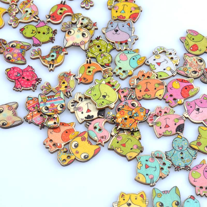 20 Botones Madera Artesanía perros mixto