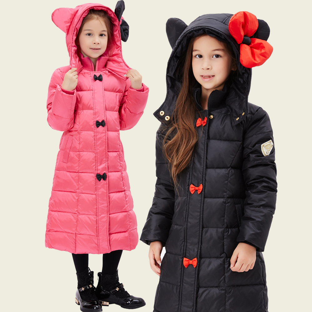 ФОТО Girls Thick Hooded Winter Jacket Children Down Warm Coat Girls Princess Outerwear Kids Clothes Bowknot Decoration 110-140cm