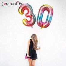 32inch Iridescent Rainbow Color Number Foil Balloons Birthday Wedding Party Decoration Digital Balloon Number Air Ballon Globos