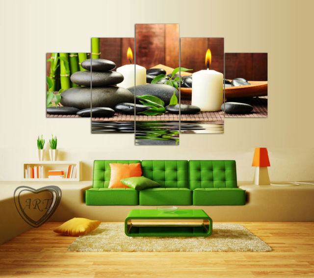 Wall Art Botanical Green Feng Shui White Candle Painting Canvas Pictures For Living Room