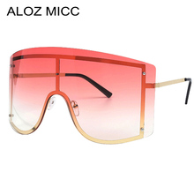 ALOZ MICC Oversized Rimless One Piece Sunglasses Women Fashion Metal Big Frame Sun Glasses Men Windproof Goggles Oculos Q08